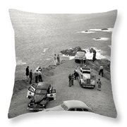 Car Over Edge On Highway One  Big Sur  California    March 27 1947 Throw Pillow