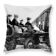 Car Race, 1908 Throw Pillow