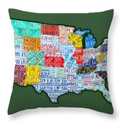 Car Tag Number Plate Art Usa On Green Throw Pillow
