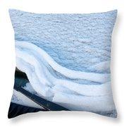 Car Windshield Freshly Fallen Snow Melting Throw Pillow