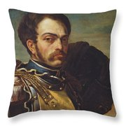 Carabinier Officer With His Horse, C.1814 Oil On Canvas Throw Pillow