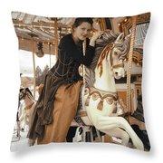 Caramel Carousel Throw Pillow