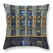 Carbide And Carbon Building Throw Pillow by Adam Romanowicz