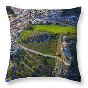 Carcabuey Castle From The Air Throw Pillow