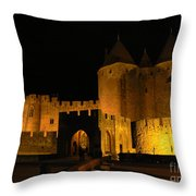 Carcassonne At Night Throw Pillow by France  Art