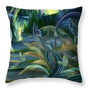 Card Design For Insects Of Enchanted Stream Throw Pillow