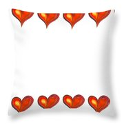 Card Frame Made Of Watercolor Hearts Throw Pillow