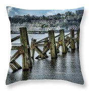 Cardiff Bay Old Jetty Supports Throw Pillow