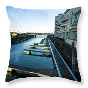 Cardiff Bay Pontoons Throw Pillow