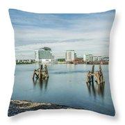 Cardiff Bay Towards St Davids Hotel Long Exposure Throw Pillow