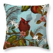 Cardinal And Apples Throw Pillow