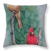 Cardinal Companions Throw Pillow