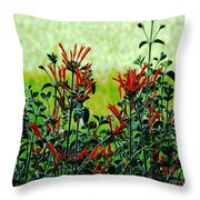 Cardinal Flowers Throw Pillow