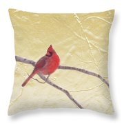 Cardinal In Gold Leaf Throw Pillow