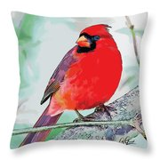 Cardinal In Ice Tree Throw Pillow