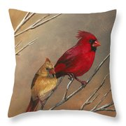 Cardinal Mates Throw Pillow