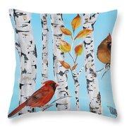 Cardinals Among The Birch-d Throw Pillow