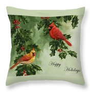 Cardinals Holiday Card - Version Without Snow Throw Pillow