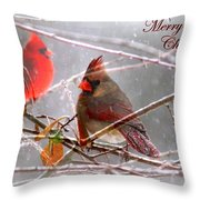 Cardinals - Male And Female - Img_003card Throw Pillow