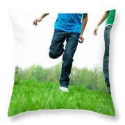 Carefree Friends Throw Pillow