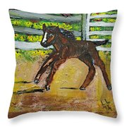 Carefree Pony Throw Pillow