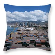 Cargo Containers At A Harbor, Honolulu Throw Pillow
