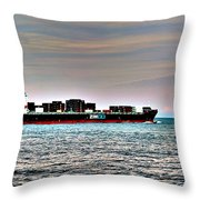 Cargo Ship Near Chesapeake Bay Bridge Tunnel Throw Pillow