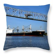 Cargo Ship Under Bridge Throw Pillow