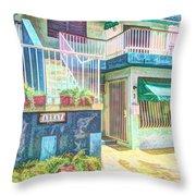 Caribbean Beach House Throw Pillow