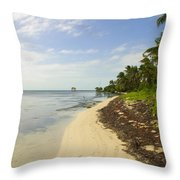 Caribbean Beach In Ambergris Caye Belize Throw Pillow