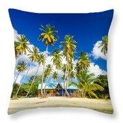 Caribbean Beach Shack Throw Pillow