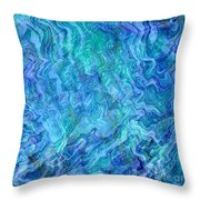 Caribbean Blue Abstract Throw Pillow