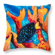 Caribbean Damselfish Throw Pillow