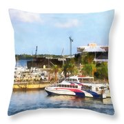 Caribbean - Dock At King's Wharf Bermuda Throw Pillow