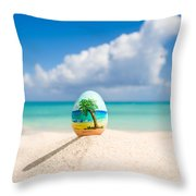Caribbean Easter Egg Throw Pillow