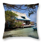 Caribbean House And Boat Throw Pillow