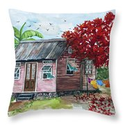 Caribbean House Throw Pillow