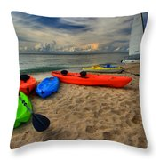 Caribbean Kayaks Throw Pillow
