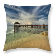 Caribbean Ocean Pier Throw Pillow