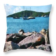 Caribbean - Rocky Shore St. Thomas Throw Pillow