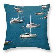 Caribbean Sailboats Throw Pillow by Amy Cicconi