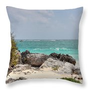 Caribbean Sea And Beach At Tulum Throw Pillow