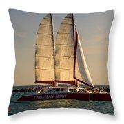 Caribbean Spirit Sails Miami Throw Pillow