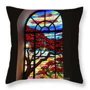 Caribbean Stained Glass  Throw Pillow