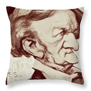Caricature Of Richard Wagner Throw Pillow by Anonymous