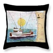 Carina Trawl Fishing Boat Nautical Chart Map Art Throw Pillow