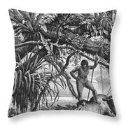 Caripuna Indians With Tapir, From The Amazon And Madeira Rivers, By Franz Keller, 1874 Engraving Throw Pillow