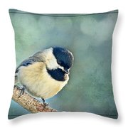 Carlina Chickadee With Soft Blue Bokeh Throw Pillow