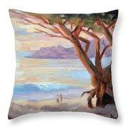 Carmel Beach Winter Sunset Throw Pillow