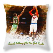 Carmelo Anthony Of The New York Knicks Throw Pillow